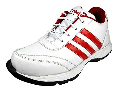 1 st look Mens White and Red PU Running Shoes_8 UK