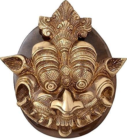 Deux Moustaches Dragon Face heurtoir de porte en laiton avec plaque de base Antque standard Marron