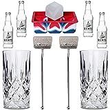 ALANDIA Gin Tonic Zubehör Set Premium | 2X Gin-Gläser aus Kristall | 4X Gents Tonic Wasser | 2X Stirrer aus Edelstahl | 1X XXL-Eiswürfelform BPA-frei