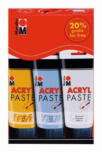 Marabu 120200087 - Acryl Paste, 3 x 100 ml, sortierung