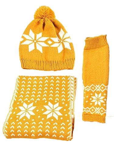 Kissing U Femmes Chenille Snowflake Gants Imprimer Chapeau et écharpe d'hiver Jaune
