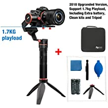 Feiyu a1000 Upgraded Version 3-Axis Gimbal Stabilizer for NIKON/SONY/CANON Series DSLR Camera/GoPro Action Camera/Smartphone,1.7KG Payload,App control with Extra battery and Tripod