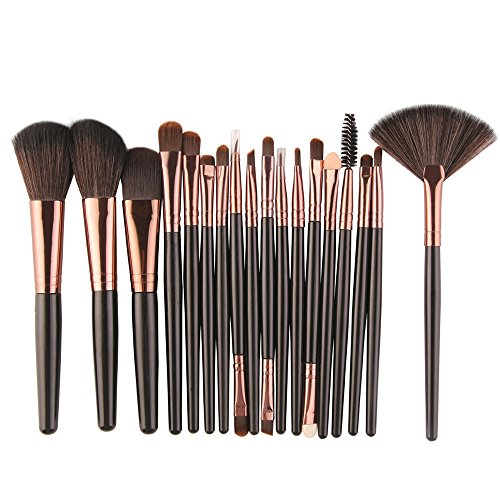 Make-up Pinsel Set, 18 Stück machen Up Pinsel Pulver Pinsel Lip Brush Make-up-Werkzeuge (Schwarz)