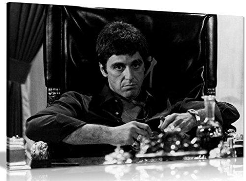 Wandbild, Motiv: Scarface, Al Pacino als Tony Montana, Kunstdruck auf Leinwand, A0 91x61cm (36x24in)