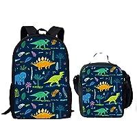 Children School Bag Set 2PCS Bookbag with Lunchbag Cartoon Dinosaur Design