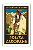 Pologne polen Polonia-Polska Zakopane (Polonia Resort Town de Zakopane)-Tatras montañas-polaco Górale (Mountaineer)-Vintage World Travel Poster por Stefan Norblin c.1925-Fine Art Print, 24' x 36' Premium Giclée