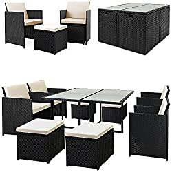Deuba Poly Rattan Sitzgarnitur Cube I 7cm Dicke Auflagen I 4 Stühle 4 Hocker & Tisch I 9 TLG Sitzgruppe Gartenmöbel Set