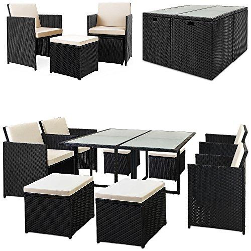 Deuba® Poly Rattan Sitzgarnitur 8+1 | Cube Design | 7cm dicke Auflagen in creme | klappbare Rückenlehne | platzsparend [ Modellauswahl 2+1 | 4+1 | 8+1 | 10+1 ] - Sitzgarnitur Gartengarnitur Rattanmöbel Gartenmöbel Set