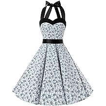 Dresstells® Halter 50s Rockabilly Polka Dots Audrey Dress Retro Cocktail Dress