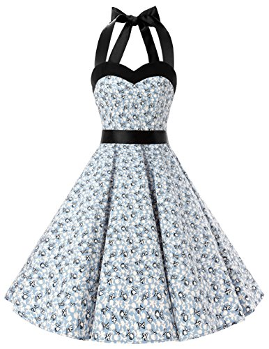 Dresstells Neckholder Rockabilly 50er Vintage Retro Kleid Petticoat Faltenrock Light Blue Flower 3XL (Marine In Dress Blues)