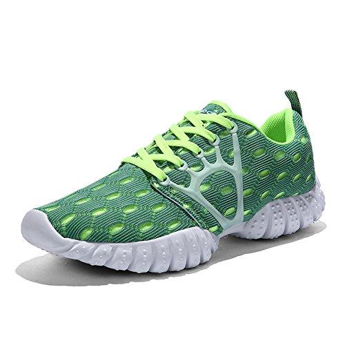 GOMNEAR Chaussures de course Homme MultiSport Trainers Gym Walking Jogging sneakers de mode Vert