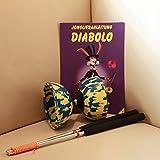Diabolo Set Harlekin medium zweifarbig blau/gelb mit Alu-Handstäben und Spielanleitung