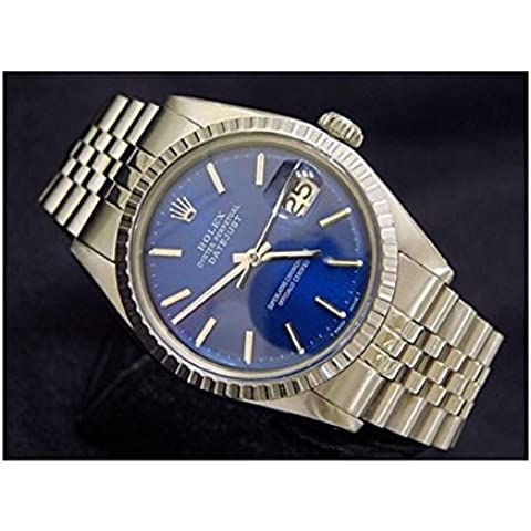 Acero inoxidable Hombre Rolex Datejust W/Submariner Esfera Azul & Jubilee Band 1603