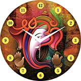 JaipurCrafts Designer Stylish Beautiful Wooden Lord Ganesha Emboss Painting Wall Clock| Clock For Home | Wall Clock For Kitchen | Rajasthani Wall Clock- Without Glass