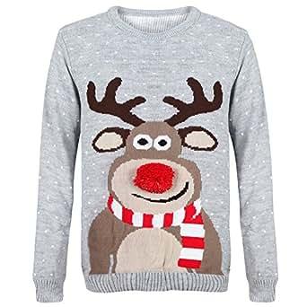 Myshoestore ® unisexe en 1970 's-Vingtage Pull de Noël rétro Motif renne Rudolph Olaf Frozen Pingouin Pom Pom nez Pull en tricot Pull Hauts Plus grande taille -  Gris - Small