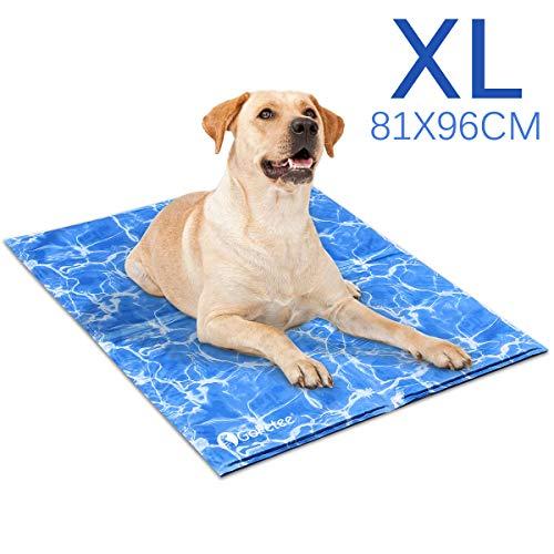 GoPetee Kühlmatte für Hunde Kühlkissen zur Abkühlung in der Sommerhitze Tiere Kühldecke geeignet für Zuhause unterwegs oder im Auto (XL-Wasser-Welligkeit)