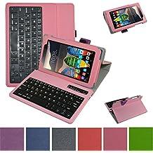 "Lenovo Tab3 A7-10 / Tab 3 7 Essential Bluetooth teclado Funda,Mama Mouth DETACHABLE Bluetooth teclado teclado (teclado QWERTY formato inglés) PU Cuero Con Soporte Funda Caso Case para 7"" Lenovo Tab3 7 Essential 710F 710I Android Tablet 2016,Rosa"