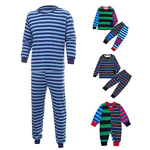 Weihnachten Schlafanzug Familien Outfit Mutter Vater Kind Baby Pajama Langarm Nachtwäsche Gestreift Sleepwear Casual V-Ausschnitt Langarmshirt Oberteile Top Hose Set von Innerternet