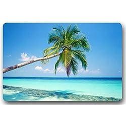 DENSY Fußmatten dearhouse Andy Tropical Paradise Strand mit Palmen und das seaocean Thema Fußmatten, Rutschfeste Badezimmer Küche Matte Welcome Fußmatte
