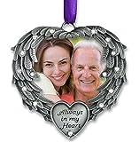 Banberry Designs in Memory Foto Ornament–Always in My Heart–Engel Flügel Bild Weihnachten Schmuck mit Die Erinnerung Spruch auf der Karte–Mitgefühl-Geschenke–Geschenke Trauer