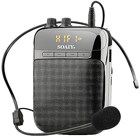 SOAIY S-318 Amplificateur Vocal Portable 5W 3,7V / Ampli Casque Haut-parleur avec Radio FM / MP3 Micro / AUX / REC pour Guide Touristique / Formateur / Professeur / Conférence