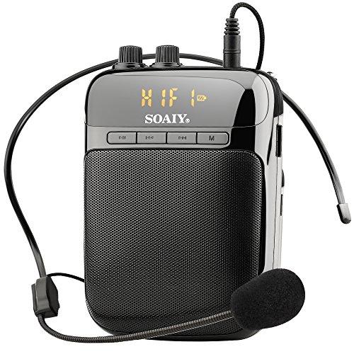 SOAIY S-318 digital Sprachverstärker Stimmverstärker 5W 3,7V/2000mAh mit Mikrofon FM Radio/MP3/AUX/REC Unterstützung tragbar für Reiseleiter Trainer Lehrer Vorträge Kostüme