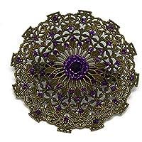 Vintage broche corazón cuentas Japón ciruela púrpura 5,5cm regalos personalizados navidad amigos cumpleaños invitados mamá boda ceremonia pareja mujer