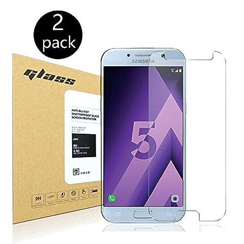 [2-Pack]Samsung Galaxy A5 2017 Protecteur d'écran,HoPerain[verre trempé] Protection écran,Dureté 9H,Anti Scratch,Anti-empreintes digitales