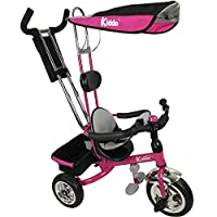 Kiddo Pink Smart Design 4-in-1 Childrens Tricycle Kids Trike 3 Wheel Bike Parent New (Pink)