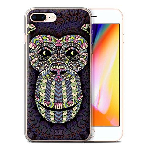 Coque Gel TPU de STUFF4 / Coque pour Apple iPhone 7 Plus / Loup-Bleu Design / Motif Animaux Aztec Collection Singe-Couleur