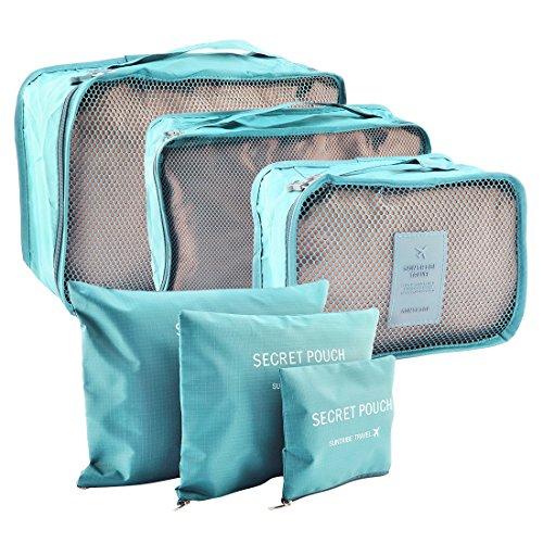 Travel Storage Taschen,Lommer 6Pcs Wasserdichte Verpackung Cube Clothes Pouch Gepäck Organizer--Wassermelone rot blau