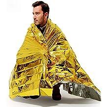 JanTeel 4 Paquetes Mantas Térmicas Mylar de Emergencia, Manta de Oro Supervivencia Espacial, Esenciales