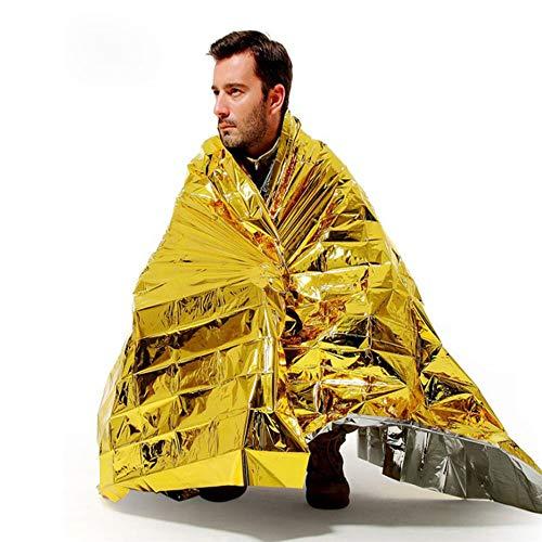 JanTeel 4 Paquetes Mantas Térmicas Mylar de Emergencia, Manta de Oro Supervivencia Espacial, Esenciales para Acampar al Aire Libre Maratones de Supervivencia Primeros Auxilios (Paquete de 4)