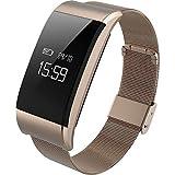 A66 Movimiento de metal Pulsera inteligente Frecuencia cardíaca Presión arterial Presión arterial Monitoreo de la fatiga Recuerdo sedentario Pulsera de salud , gold