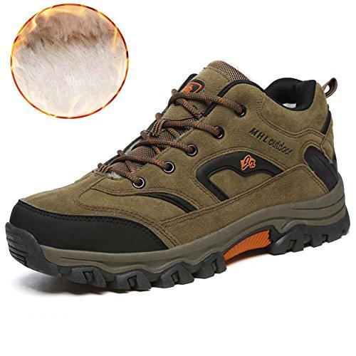 Mengxx Winter Plus Samt Stiefel Schnee Stiefel Männer kaltes Wetter Stiefel im Freien wasserdichte Wanderschuhe (EU 42, Khaki)