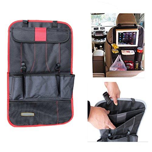 Yacool® múltiples funciones del coche del asiento trasero Organizador con almacenaje del recorrido de la tableta de bolsillo-Multi-bolsillo bolsa de basura de la bolsa del respaldo del asiento del vehículo protector de la cubierta--rojo