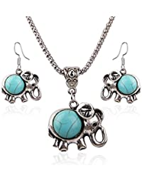 Young & Forever Valentine Gifts Special Boho Gypsy Turquoise Stone Lucky Elephant Combo Necklace And Earring Set...