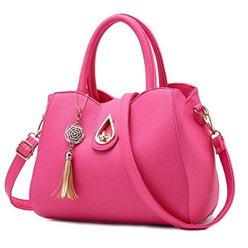 Femme Sacs à main Mode Faux Cuir sacs à bandoulière pour Filles Rose rouge