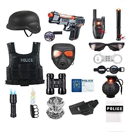 CYGGA Kinderkostüm Polizist, Polizeikostüm Spielzeugkostüm Polizist mit nachgemachter Kinderleben-Ballettweste, EIN Kinderhandschellenpaar 3 Jahre, 18 Teile, - Ziel Der Polizei Kostüm