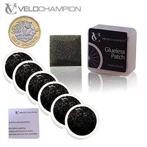 VeloChampion - Kit Riparazione Pneumatici/Camera d'Aria - Toppe Autoadesive Confezione da 6. Puncture Repair Patch Kit