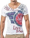 LEIF NELSON Herren T-Shirt Hoodie tiefer V-Ausschnitt Kurzarm Shirt Sweatshirt LN2024N; Größe L, weiss