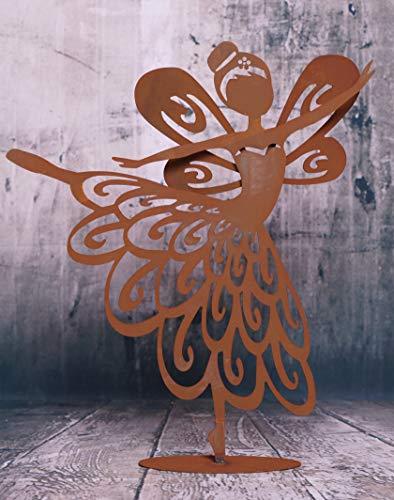 Edelrost Ballerina Fee Synthia mit ausgestreckten Bein 42x47cm, inkl. Herz Gartendeko - Herz Ballerina Kleid