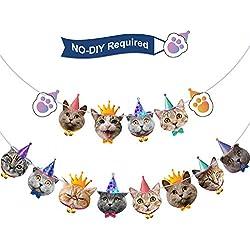 Pancarta de Cumpleaños de Caras de Gato Guirnalda de Cumpleaños Banderines de Fiesta de Kitties para Fiesta Temática de Gato Fiesta de Bienvenida a Bebé