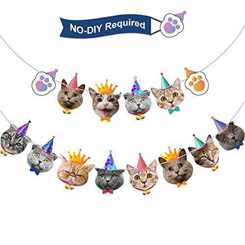 Katze Gesicht Geburtstag Banner Katze Geburtstag Girlande Kätzchen Geburtstag Party Bunting Dekoration für Katze Thema Party Baby Dusche