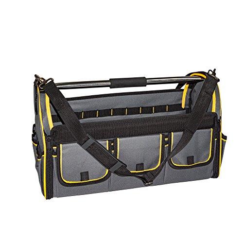 Werkzeugtasche mit Tragebügel und Umhängegurt, Werkzeugbox, Werkzeugkasten, Werkzeug-Tasche offen