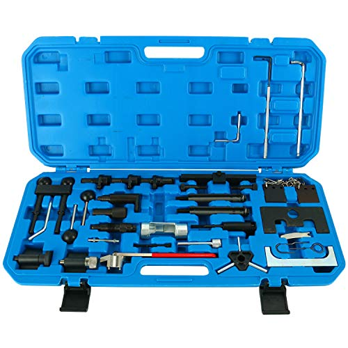 FreeTec Motoreinstell Werkzeug Arretierwerkzeug Zahnriemen Werkzeug Satz Motor-Einstellwerkzeug für VW Golf Polo Audi A3 A4 A6 Steuerriemen im Werkzeugkoffer