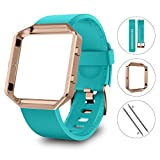 LEEFOX Fitbit Blaze Bands with Frame, Sport Silicone Replacement Strap for Fitbit Blaze Smart Fitness Watch Accessory Wristbands Small, Classic Teal Bracelet w/Rose Gold Frame (Proverbs 4:23)