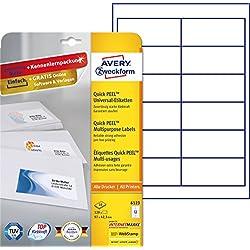 Avery Zweckform 6123 Blanco etiqueta de impresora - Etiquetas de impresora (Blanco, A4, Papel, Laser/Inyección de tinta, Permanente, Mezclar)