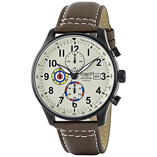 AVIATOR Herren Uhr Armbanduhr Pilotenuhr Chronograph VINTAGE AVW2044G292 braun Leder