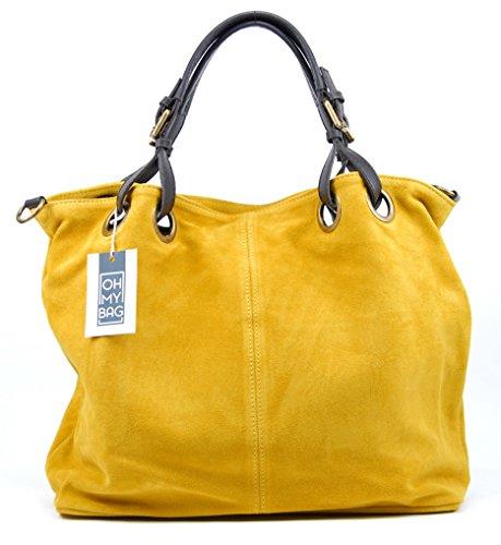 OH MY BAG Sac à Main cabas femme en cuir nubuck porté main, épaule et bandoulière Modèle Opéra Nouvelle collection - SOLDES